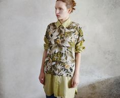 Vintage box top Sheer floral blouse Olive green top Oversized top Womens spring clothing Summer blouse on Etsy, $24.04 CAD