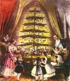 Make a tiny Christmas tree for your dollhouse in the Victorian style. This  little christmas tree is in the English Victorian style, made popular by  Queen Victoria in 1848.
