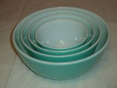 Vintage Nesting Pyrex Glass Mixing Bowls, Turquoise, #'s 401, 402, 403,  & 404 #Pyrex