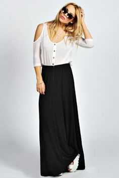 Very MK & Ashley! Ruby 90's Grunge Style Button Front Maxi Skirt at boohoo.com