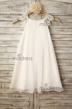 Chiffon Lace Flower girl dress/Cap Sleeves Boho Beach by misdress                                                                                                                                                                                 Plus