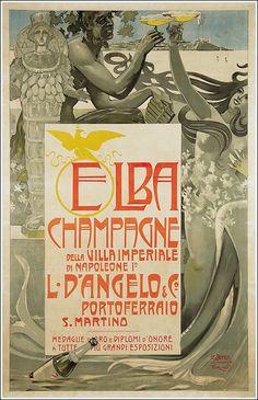 #Elba #Champagne #Portoferraio / Napoléon poster manifesto #vintage #original www.posterimage.it