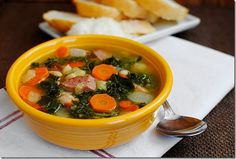 Tuscan Kale & White Bean Soup is hearty yet light, and packed with vegetables and kielbasa. The perfect cold-weather soup! | http://iowagirleats.com/2012/08/26/tuscan-kale-white-bean-soup/