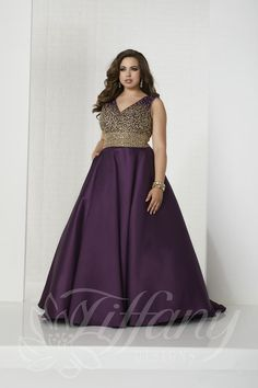 0055f7333a1 Style 16322 from Tiffany Designs is a sleeveless V neck plus size prom gown  with a. French Novelty