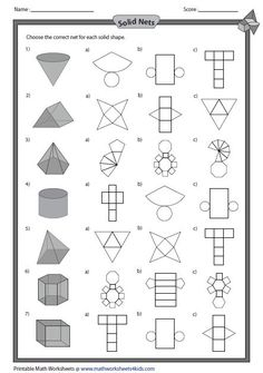 Solid Shapes Worksheets - Solid net and Shapes - Math For Kids, Fun Math, Math Games, Math Activities, Geometry Activities, 3d Shapes Worksheets, Grade 6 Math Worksheets, Geometry Worksheets, Printable Worksheets