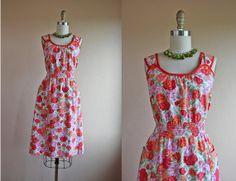 1940s Dress  Vintage 40s Dress  Orange Cotton Rose by jumblelaya, $108.00