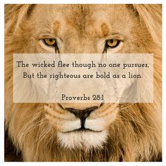 """The wicked flee though no one pursues, But the righteous are bold as a lion."" - Proverbs 28:1"