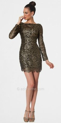 Trendy and edgy, these cocktail dresses by Nika are fashion forward. With their portrait neckline, paisley lace, and por...Price - $438.00 - T0AJCW2U