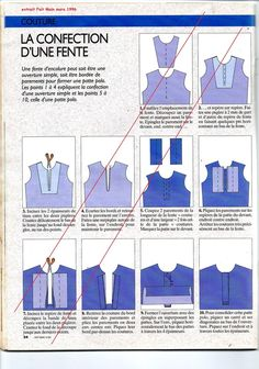 Fente: 2 solutions ici, pour une ouverture simple ou pour former une patte polo.