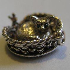 Vintage Sterling Silver Gem Set Eyes Cat Mouse Charm Kitty Spins in Basket | eBay