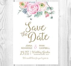 Floral Save the Date Card - Pink Peony Succulent Watercolour - Personalised - Printable - Digital File - White + Gold Portrait Design