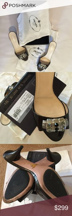 PRADA Patent leather Sandal black patent leather, size 36.5, 2 dust bags and box(no lid,lost it), overall in great condition except heels(last photo;look signs of wear) Prada Shoes Sandals