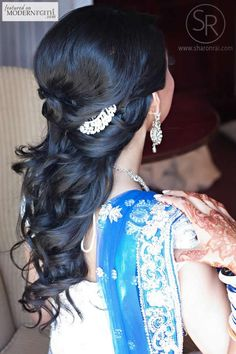 South Asian Indian Bridal Wedding Reception Hairstyle - more inspiration @ http://www.ModernRani.com