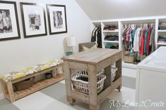 MyLove2Create, Closet/Laundry Room Makeover -- with individual tutorial links -- slanted wall storage (middle on wheels for storage behind) -- laundry folding table and organizer