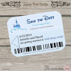 Send your guest the Key to your wedding.... This cute Save the date is a replica of the room keys you get at Disney.  This card could be made double sided if you want to add more wedding info on the back.  Minimum order: 24, price is per card Card could be printed on Card Stock or Linen  _______________________________________________________________________ ORDERING: PLEASE REQUEST A CUSTOM ORDER. THE SAMPLE LISTING IS ONLY FOR YOU TO SEE THE INVITE, DO NOT PURCHASE. A CUSTOM ORDER WILL BE…