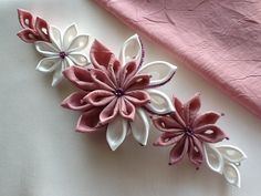 Bridal Headpiece Ivory & Dark Pink  Kanzashi by LihiniCreations, $35.00. Lovely fabric flowers... just adore the tiny beads at the edge of each petal!