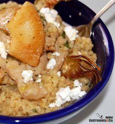 Receta de Bulgur con lomo marinado, piña y chips de alcachofa