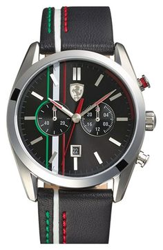 Scuderia Ferrari Chronograph Leather Strap Watch, available at Amazing Watches, Cool Watches, Watches For Men, Fashion For Men Over 60, Corsa Wind, Ferrari Watch, Men's Accessories, Mode Man, Luxury Watches