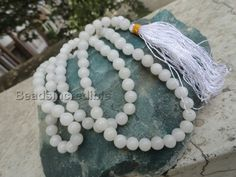 White Agate Beads Rosary Necklace 8MM 108 Round by beadsincredible, $19.95