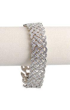 dac0cc28d68 Swarovski Rhodium and Crystal Pave Diamanta Bracelet
