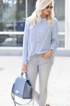 66d0763ea9 Light Blue Sweater and Gray Pants