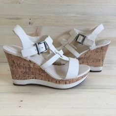 """Off White Sandal Platform Cork Wedges XUC: faux off white leather; buckled strap; cork wedge just under 4.5""""; minor signs of wear-just need to be cleaned-see pics; soles are in excellent condition-see pics Studio Paolo Shoes Wedges"""