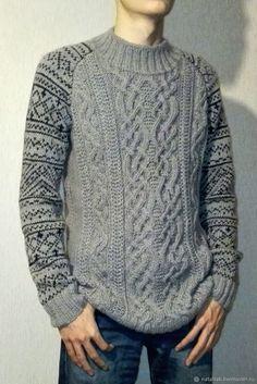 """Купить Свитер """"Скандинавия"""" - этно, зима, осень, кельтский, свитер, серый, украина, мужской, вязание"""
