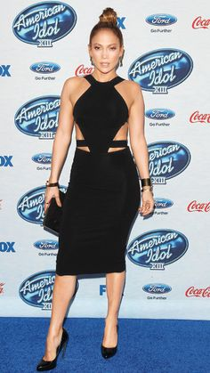 The singer struck a fierce note at the American Idol XIII Finalists Party on February 20 in a black cut-out Cushnie et Ochs dress, accessorizing with Joan Hornig double-petal earrings, bracelets and rings by W. Britt, a black clutch and black patent pumps.