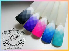 Gradient geometric design of nails gel-lacquers / step-by-Step design/ Part 1 Nail Polish Art, Gel Nail Art, Nail Manicure, Diy Nails, Cute Nails, Acrylic Nails, Fabulous Nails, Perfect Nails, Monogram Nails