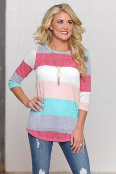Whatever The Day Brings Color Block Top from Closet Candy Boutique