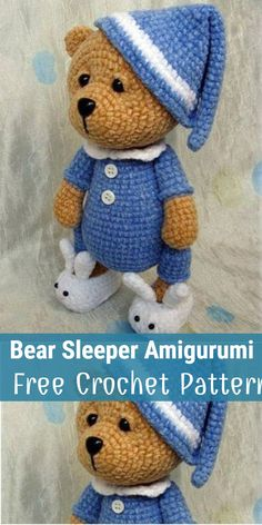 Teddy Bear Sleeper Amigurumi Free Crochet Pattern Crochet teddy bear patterns have a huge variety of colors and designs. You can make them the perfect gift for anyone at a special event like Christmas. Animal Knitting Patterns, Crochet Amigurumi Free Patterns, Free Crochet, Crochet Teddy Bear Pattern Free, Knitted Teddy Bear, Diy Accessoires, Crochet Bunny, Crocheting, Clay Animals