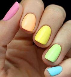 Ranibow nails! What a great idea for a young girl manicure! #nailart #littlemissbliss #ellablissbeautybar