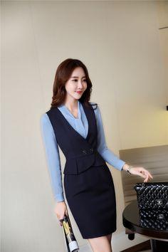 đầm liền khoét nách dễ dàng kết hợp với các kiểu sơ mi nữ Classy Work Outfits, Office Outfits, Business Dresses, Business Outfits, Office Fashion, Work Fashion, Fashion Wear, Fashion Dresses, Suits For Women