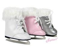 "Classic Doll New 2-1//2/"" White Leather Skating Boots Fit Most 20/"" 24/"" Dolls"