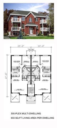 Six-Plex Multifamily Plan 48066 | Total Living Area: 5598 sq. ft.