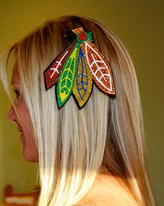 Chicago Blackhawks Sparkly Feather Hair Clip by LollysGoods, $10.00. I would so wear this to a game! <3