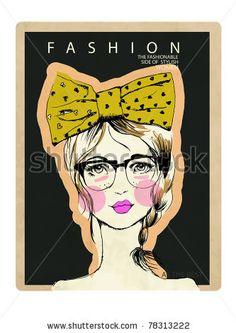 illustration fashion portrait girl with ribbon - stock vector
