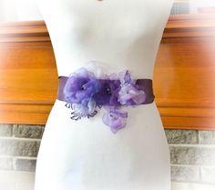Purple Bridal Sash  Purple Flowers Bridal by BridalSashbyNatalie