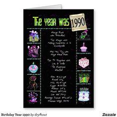 Birthday Year 1990 Card