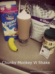 Chunky Monkey ViSalus Shake Recipe   8 oz Almond Milk ( I like Almond Breeze Unsweetned Vanilla)  1/2 banana  1 tbsp PB2  2 scoops of ViSalus Vi-Shape (the best ingredient of all)  1 ViSalus Chocolate packet 4 ice cubes   Place all ingredients in a blender and enjoy!!! As you can see, I topped mine with a little sugar free whipped cream. Just a little treat.