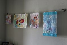 Maybe we can do this when Nate starts going to school. Hang your kid's art with Ikea curtain wire.