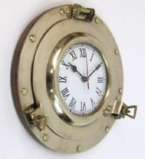 NEW Nautical Navigation Marine Brass Ship Porthole Batter yQuartz Clock 11""
