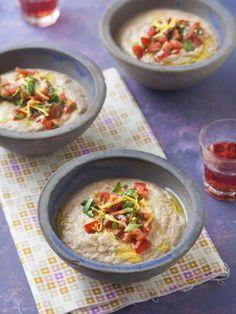 poivre, huile d'olive, ail, yaourt brassé, aubergine, tomate cerise, sel, feuille de menthe, basilic