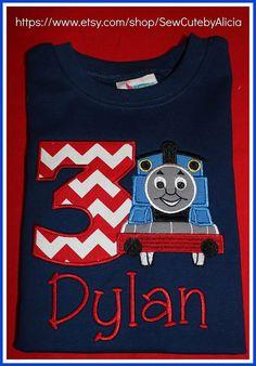 Train Birthday Shirt ... All Aboard Navy Shirt. by SewCutebyAlicia