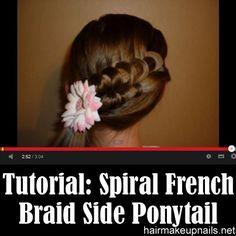 Spiral French Braid Side Ponytail ►► http://www.hairmakeupnails.net/spiral-french-braid-side-ponytail/?i=p