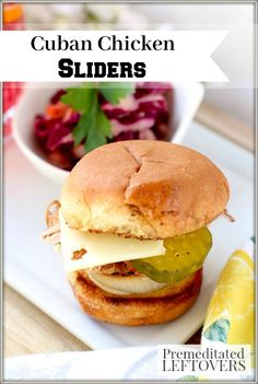 These Cuban Chicken Sliders are tasty and fun-sized! Unlike a traditional Cuban, this recipe stacks ham, chicken, and caramelized onions on a toasted bun.
