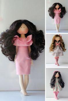 Bonita Handmade doll Cloth doll Rag doll Fabric doll Pink doll Birthday doll Tilda doll Interior doll Art doll Textile doll by Olesya N