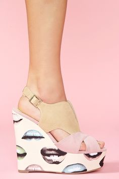 #wedges with Lips  Wedges #2dayslook #Wedges #fashion #nice #new  www.2dayslook.com