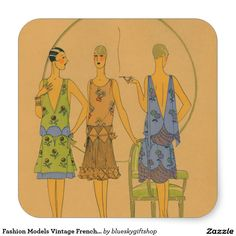 Fashion Models Vintage French Art Deco Square Sticker