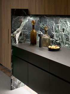 Modern Kitchen Interiors, Contemporary Kitchens, Built In Bar, Granite Flooring, Surry Hills, Penthouse Apartment, Grey Cabinets, Green Marble, Green Kitchen